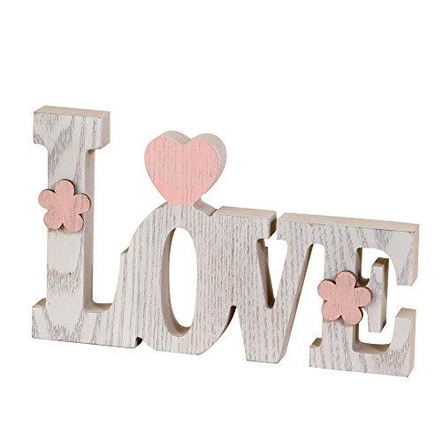 Mopec Decorazione Love, Legno, Bianco, 3x 20.5x 12.2cm