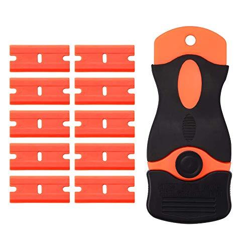 Sinogoods Raspador de Plástico, Rasquetas Rascador Cuchilla Vitroceramica Rascador de La Maquinilla, con 10 Piezas Cuchillas de Plástico