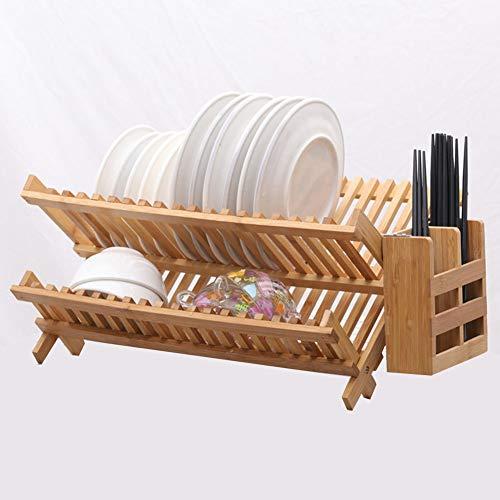 Escurreplatos Estante De Secado De Platos, Bambú Plegable Cocina De Almacenamiento, Doble Nivel Estante De Cubiertos Soporte Para Platos, Cuencos, Tazas, Etc. (With Cutlery Box,19 grid)