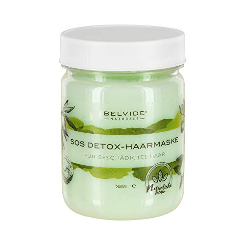 BELVIDE® Natur SOS Detox-Haarmaske mit Walnuss, Brennessel und Jojobaöl für geschädigtes Haar · Haarkur ohne Silikon und Parabene · tierversuchsfrei · 200ml