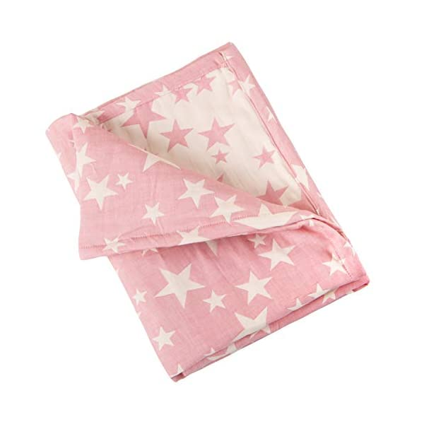 NTBAY 3 Layer Toddler Blanket, Muslin Cotton Jacquard Bed Blankets, Lightweight Thermal Baby Blanket, Super Soft and Warm Crib Blanket for All Seasons, Decoration Gift, 30″x 40″, Pink Star