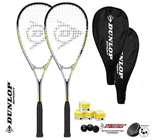 Dunlop Ti Series Squashschläger (Verschiedene Optionen) (2 x Squashschläger + 3 Squashbälle Hyper LITE TI)