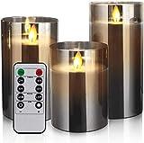 Yinuo Mirror Led Kerzen mit Timerfunktion, Flackernde Flamme Kerzen Led, Fernbedienung mit Timerfunktion Realistisch LED-Flammen, Größe 10/12,5/15cm Hoch, 7,5 cm Durchmesser
