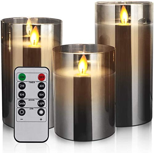 YMing LED Candles Flameless Candles 4'5'6' Set of 3 Real Wax Light, Battery Operated Candles Gray Glass Pillars Realistic Flickering Wick Flame Mode, Lantern Candles with Remote Control 24 Hour Timer