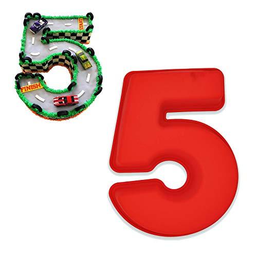 Kuchenform mit Zahlen,3D-Zahlen,Silikon-Backformen für Geburtstag und Jahrestag,flüssiges Silikon,BPA-frei,für Geburtstag und Hochzeitstag,große Form,25,4cm (5)