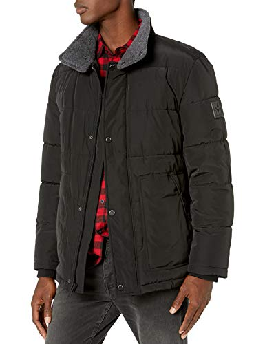 Marc New York by Andrew Marc Men's Stapleton Mid Length Puffer Jacket with Sherpa Trimmed Collar, Black, X-Large