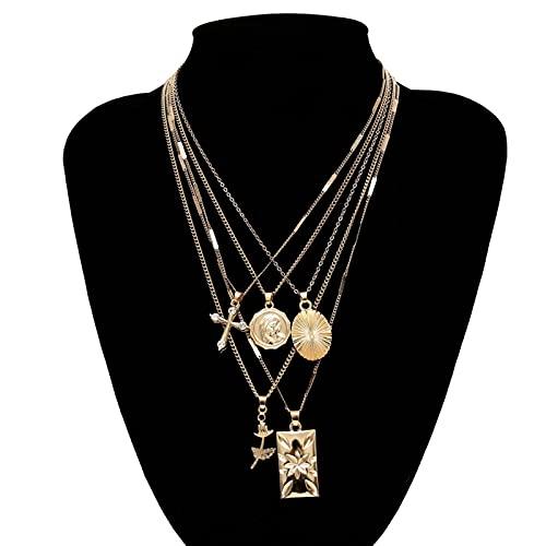 AYJMA Conjunto de Collar de Gargantilla con Colgante de Cruz Rosa en Capas Vintage Boho Dorado Tallado Retrato Moneda Cadena Larga Mujer Cristiana Talla única Oro