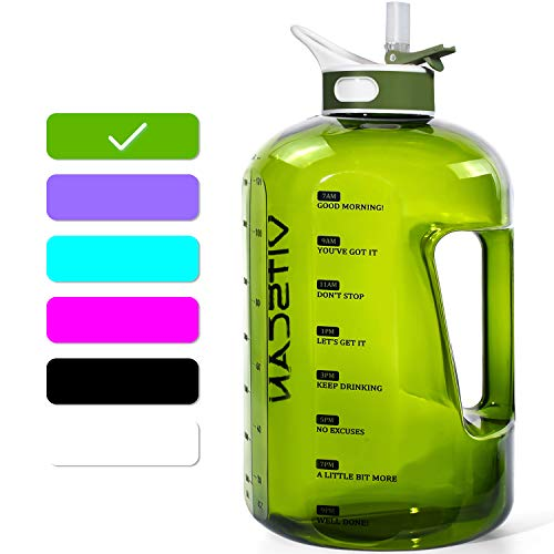 1 Gallon Water Bottle with Straw Motivational Water Bottle with Time Marker, Large Water Bottle 128 Oz Water Bottle, Big Water Jug for Sports Water Bottles (Green)