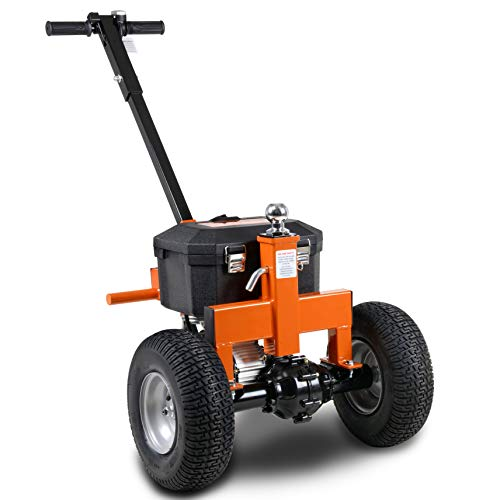 "SuperHandy Trailer Dolly Electric Power 3600LBS Max Trailer Weight, 600LBS Max Tongue Weight, DC 24V 800W 12V 7Ah Powered Heavy Duty Commercial Jack Lever 2"" Ball Mount Included"