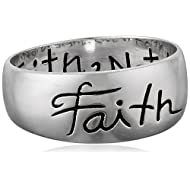 """Sterling Silver """"Faith"""" Inscribed Outside and """"Live By Faith Not By Sight"""" Inside Ring"""