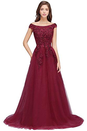 Damen Elegant Spitzen Brautjungfernkleid Hochzeitskleid standesamt Rückenfrei Lang Wein Rot 38