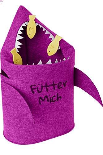 Grijnsevis wasmand kinderkamer - speelgoed bewaarmand voor kinderen van vilt - prullenbak of speelgoedmand haai roze