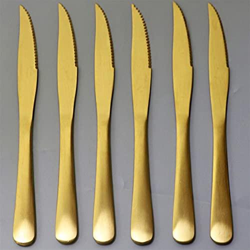 6 unids Rainbow Wenstern Steak Cuchillo Cuchillo Cubiertos 18/10 Set de vajilla de acero inoxidable Conjunto Knifes Tenedor Cuchara Cena Cena Cena Cena (Color : Gold)