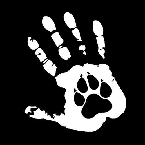 Empty 5 STK. Autoaufkleber Aufkleber 13,7 * 16,3 cm Hunde Pfoten und Hände Autoaufkleber Vinyl Dekoration Grafik-Weiß