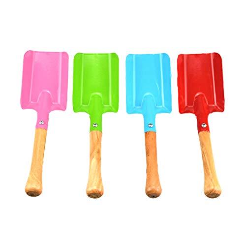 Fengyuanhong 4pcs Herramientas de jardín Colorido Pala Conjunto de Metal Mango de Madera Paleta Pala para Mujeres Adolescentes Hombres