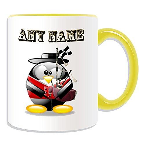 UNIGIFT gepersonaliseerd cadeau - Bagpipe mok (Penguin in kostuum ontwerp thema, kleur opties) - Naam/boodschap op uw unieke - Schotse Schotland
