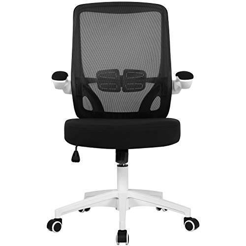 Yaheetech White Adjustable Office Chair Ergonomic Computer Desk Chair Mid Back Study Chair with Comfort Lumbar Support for Home Study or Work
