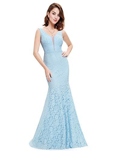 Ever-Pretty Vestido Largo de cóctel con Cola de pez con Cuello en V para Mujer EU36 Azul Hielo