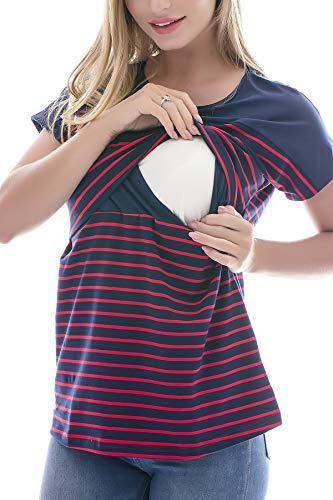 Smallshow Stillshirt Kurzarm Umstands Tshirt Umstandstop Umstandsmode Stilltop Baumwolle Schwangerschaft Streifen Shirt, Marine, M