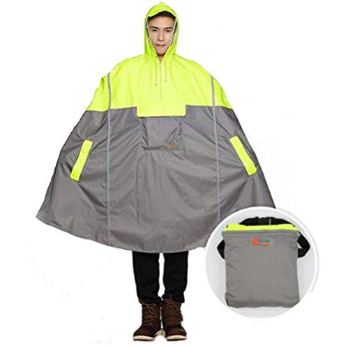 SudaTek nowy lekki rower przeciwdeszczowy ponczo rower z kapturem płaszcz przeciwdeszczowy peleryna przeciwdeszczowa wytrzymała oddychająca i wodoodporna z paskami odblaskowymi dla mężczyzn i kobiet fluorescencyjny żółty