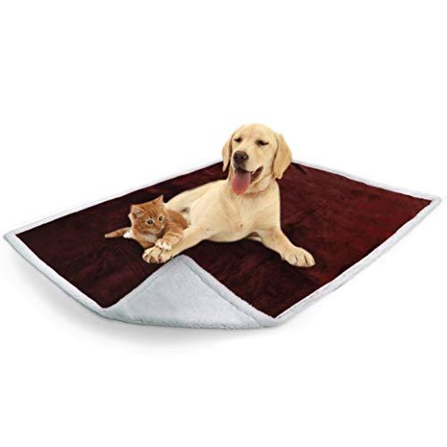 PetAmi Waterproof Dog Blanket for Couch, Sofa | Waterproof Sherpa Pet Blanket for Large Dogs, Puppies | Super Soft Washable Microfiber Fleece | Reversible Design | 50 x 40 (Brown)