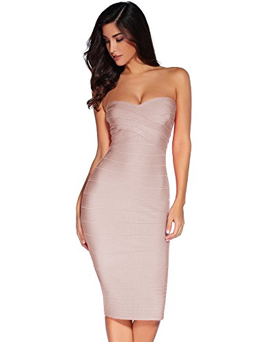 Meilun Women's Knee Strapless Bandage Bodycon Party Dress