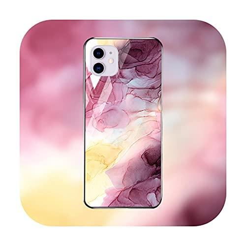 Funda de mármol para iPhone 12 Pro Max caso de vidrio templado iPhone 11 Pro Max parachoques Xs Max Xr Xs X 7 8 Plus 6 6s SE 2-M729-para iPhone 11 Pro