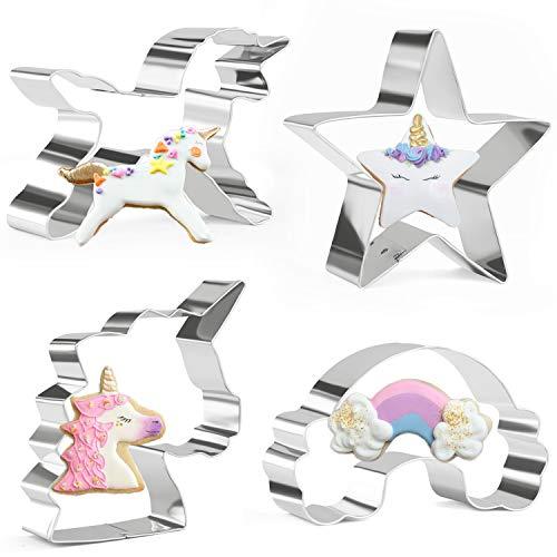 Orapink Einhorn Ausstecher 4 Stück Edelstahl Ausstechformen Set - Einhorn Kopf, Einhorn, Regenbogen und Stern
