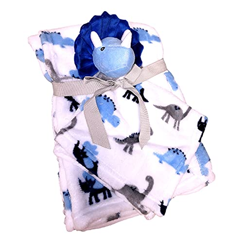 SONA G DESIGNS Plush Animal Security Lovey with Blanket Gift Set for Newborn Infant - Custom Personalized Available (Triceratops Dino Set)