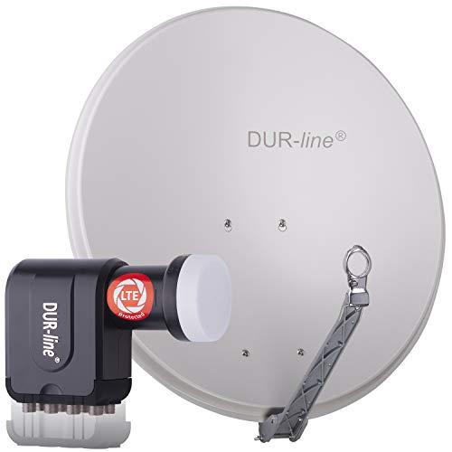 DUR-line 8 Teilnehmer Set - Qualitäts-Alu-Satelliten-Komplettanlage - Select 75cm/80cm Spiegel/Schüssel Hellgrau + Octo LNB - für 8 Receiver/TV [Neuste Technik, DVB-S2, 4K, 3D]