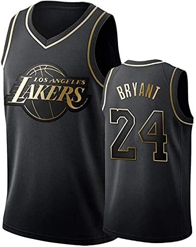 MMWW Lakers Ko-Be Bry-Ant # 24 Jersey di Basket, NBA retrò Fitness Canotta Top Sports Top,Nero,XL