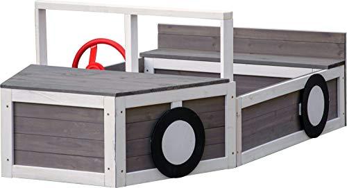 Piaskownica samochód terenowy, skrzynka na buddy w kształcie samochodu, drewno FSC, 170 x 97,5 x 63 cm