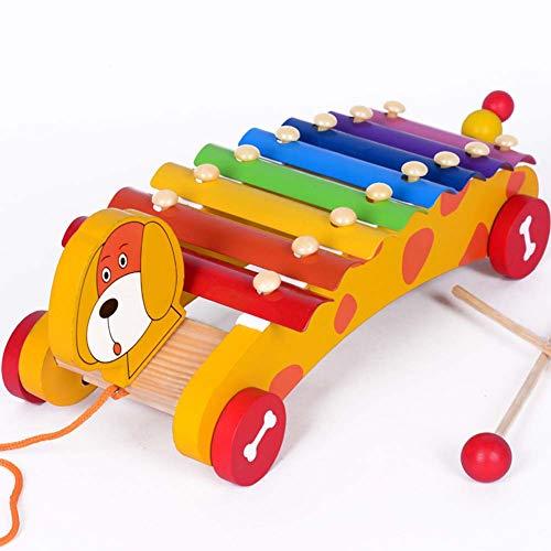 Homieco Xilofono in Legno 8 Toni educativi in età prescolare apprendimento Giocattoli Musicali per Bambini Portable Naturali Giocattoli Musicali in Legno per Bambini Bambino con 2 Mazze in Legno