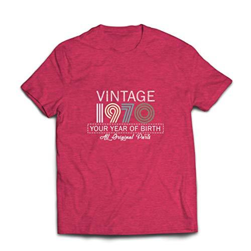 lepni.me Camisetas Hombre Personalizado con Cualquier Año Regalo Vintage Todas Las Piezas Originales (Small Brezo Rojo Multicolor)