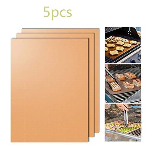 Huda BBQ Grill Mat Set van 5, anti-aanbak-barbecue grill & bakmatten met siliconen borstel gecertificeerd voor binnen en buiten BBQ werken op gas/houtskool grill sheets