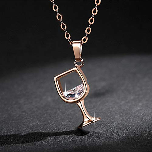 AXONYW Halskette Rose Gold Kette Weinglas Anhänger Halskette Zirkon Kristall Wein Tasse Charme Für Frauen Halsketten
