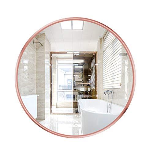 LXJ Espejo Circular De Pared, Espejo De Afeitar De Oro Rosa con Marco De Metal, Espejo De Maquillaje De Vanidad Inastillable HD para Baño, Sala De Estar, Dormitorio, Pasillo Espejos(Size:40CM)