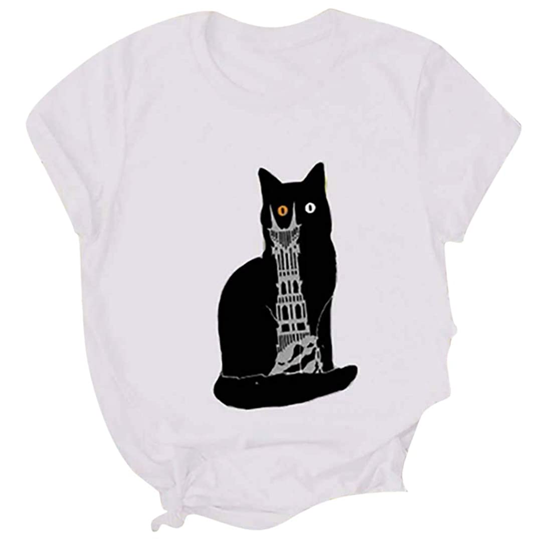 Sumen Cat Printed T-Shirt for Women Cute Funny Graphic Tee Girls Short Sleeve Tops