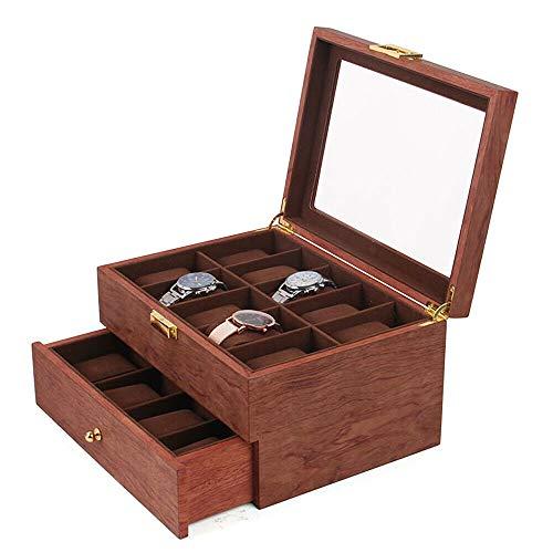 20 ranuras para relojes y joyas, armario para guardar cajón, vitrina de palisandro, color caja para relojes