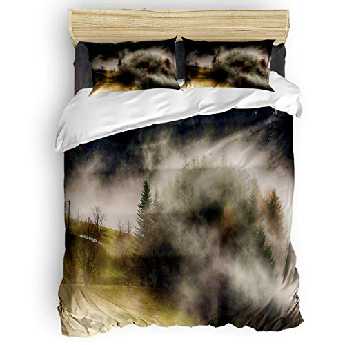Duvet Cover Set 4 Piece Quilt Cover King Size Beautiful Forest Scenery Luxury Soft Bedding Set with 2 Pillow Shames,1 Bed Sheet