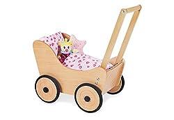 Pinolino Puppenwagen Sarah, aus Holz, mit Bremssystem, Lauflernhilfe mit gummierten Holzrädern, für Kinder von 1 – 6 Jahren, natur