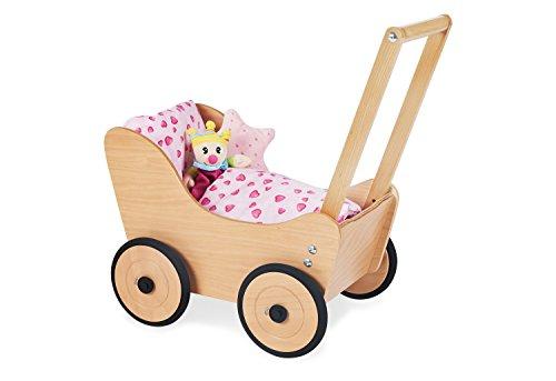 Pinolino Sarah, poppenwagen, van hout, met remsysteem, loophulp met rubberen houten wielen, voor kinderen van 1 tot 6 jaar, naturel