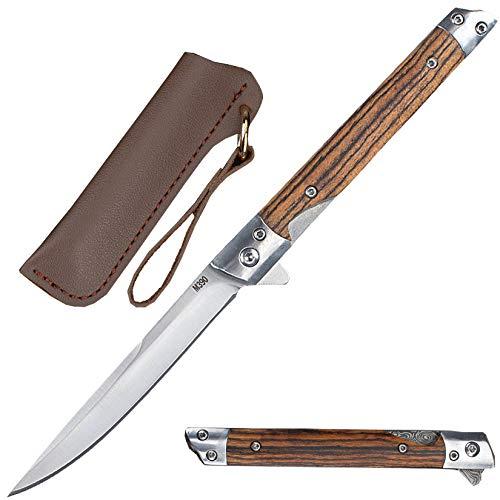 Akatomo Outdoor Klappmesser M390 Messer Taschenmesser EDC Messer mit Lederscheide, Universalmesser Perfekt für Survival Wandern Jagd Camping Arbeit, Indoor und Outdoor Aktivitäten (Steel)
