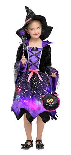 DEMU Hexenkostüm für Kinder Mädchen Beleuchtete Kinderkostüm mit LED für Halloween Karneval Violett L(120-130)