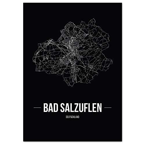 JUNIWORDS Stadtposter, Bad Salzuflen, Wähle eine Größe, 21 x 30 cm, Poster, Schrift B, Schwarz