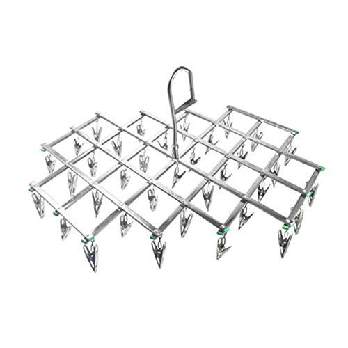 QAZX Percha Diseño Plegado Rack Lavandería con 35 Clips Sujetador Secado Rack Ropa Peg Airador Secador Acero Pinza Acero Lavandería Hanger Sock Toalla, Asador Plegable (Color : As Shown)