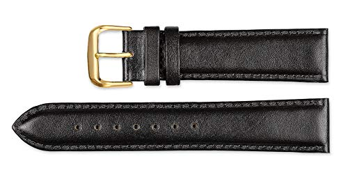 deBeer Brand Smooth Leather Watch Band (Silver or Gold Buckle) – Black 18mm (Extra Long Length)