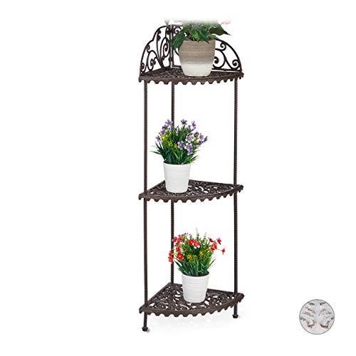 Relaxdays Eckregal, 3 Ablagen, Pflanzen, Blumen, Deko, Gusseisen, Vintage-Design, antik, HxBxT 106 x...