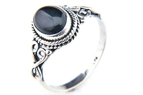 Ring Silber 925 Sterlingsilber Onyx schwarz Stein (Nr: MRI 42), Ringgröße:50 mm/Ø 15.9 mm