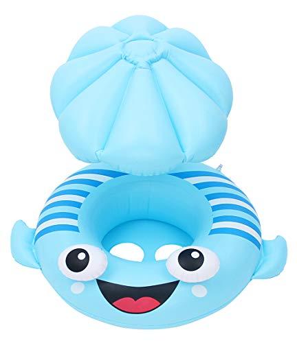 EOZY-Salvagente Neonato con Tetto Stampa platessa Anello di Nuoto per Bambino 1-4 Anni Gonfiabile per Piscina Regolabile Baby Float Giocattoli Galleggianti Cartoon Animali (Blu)
